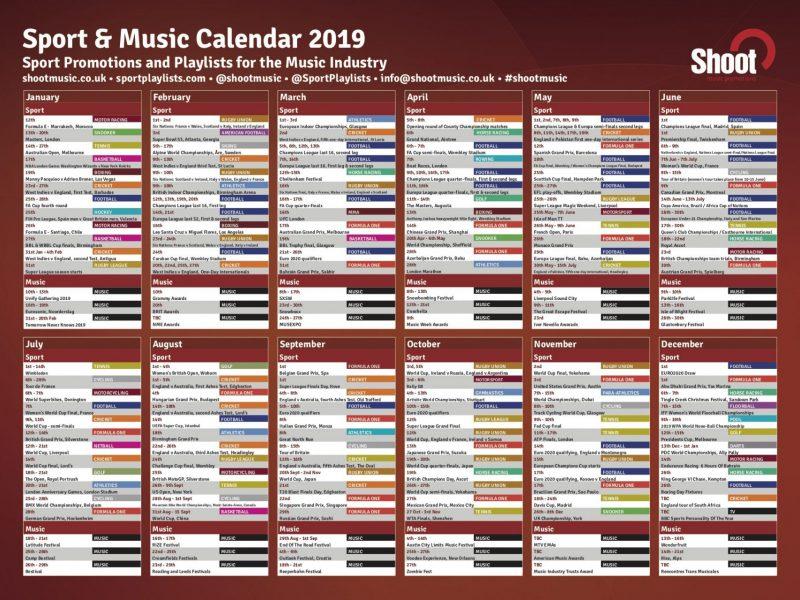 Sports Calendar 2019 Shoot Music & Sport Calendar 2019   Shoot Music
